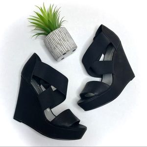 Chinese Laundry Black Criss Cross Wedge Heels
